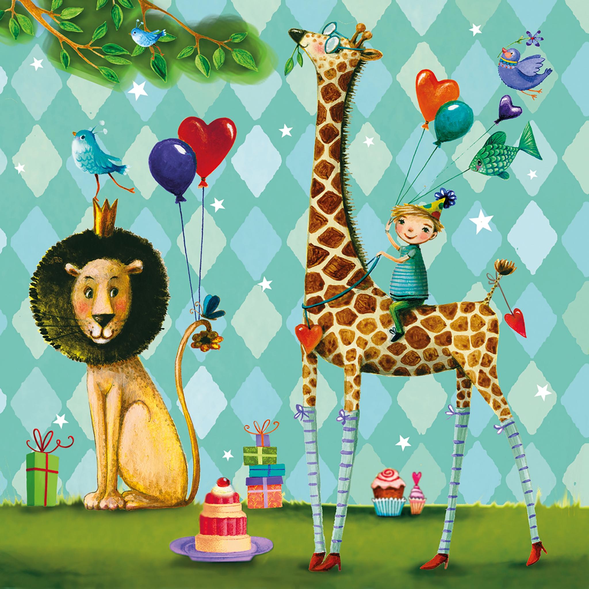 Lunch Servietten Animals Garden,  Ereignisse - Geburtstag,  Tiere - Löwen,  Tiere - Giraffen,  Everyday,  lunchservietten,  Geburtstag,  Party,  Löwen,  Giraffen