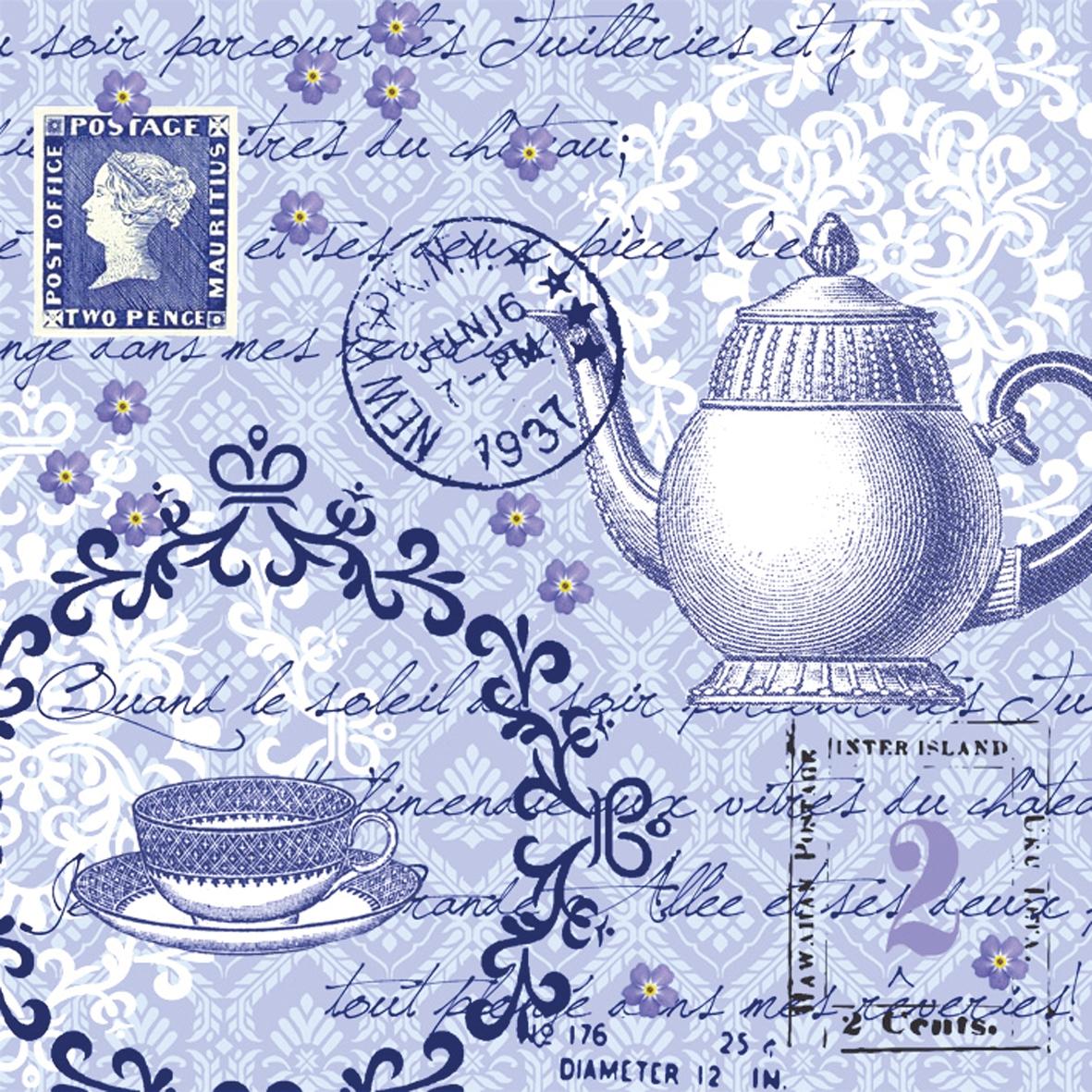 Servietten / Kaffee - Tee,  Sonstiges - Schriften,  Blumen -  Sonstige,  Getränke Kaffee / Tee,  Everyday,  lunchservietten,  Teetasse,  Blumen,  Schriften