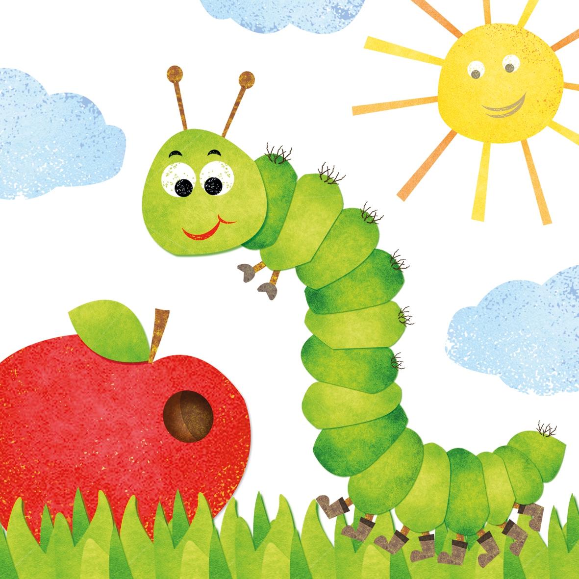 Servietten / Äpfel,  Tiere -  Sonstige,  Früchte - Äpfel,  Everyday,  lunchservietten,  Raupe,  Äpfel