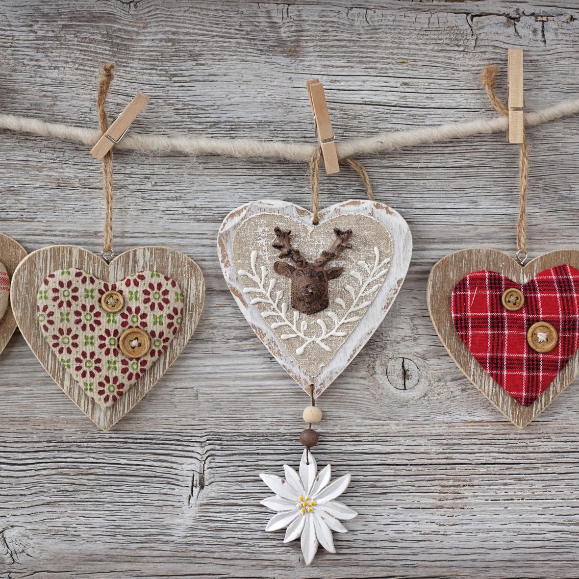 Lunch Servietten Folksy Hearts,  Tiere - Reh / Hirsch,  Sonstiges -  Sonstiges,  Blumen -  Sonstige,  Weihnachten,  lunchservietten,  Herzen,  Blumen,  Hirsch