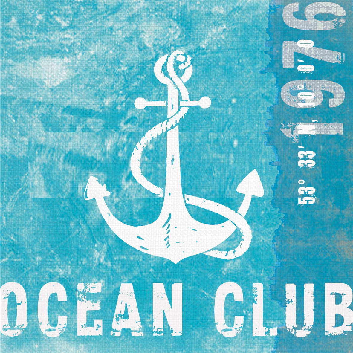 Lunch Servietten Ocean Club,  Sonstiges - Schriften,  Regionen - Strand / Meer -  Sonstige,  Everyday,  lunchservietten,  Schriften,  Anker
