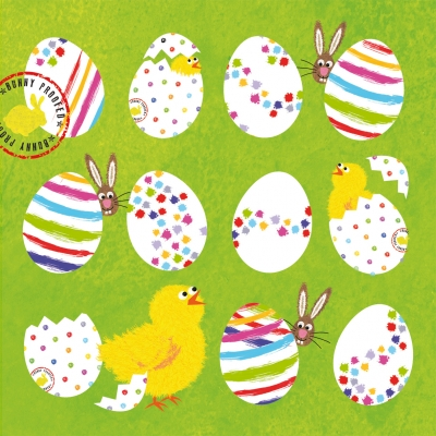Lunch Servietten Eggs allover green,  Ostern - Hasen,  Ostern - Kücken,  Ostern - Ostereier,  Ostern,  lunchservietten,  Osterhasen,  Küken,  Ostereier