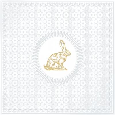 Lunch Servietten Medaillon Rabbit pearl,  Tiere - Hasen,   geprägte Servietten,   geprägte Servietten,  Ostern,  lunchservietten,  Hasen