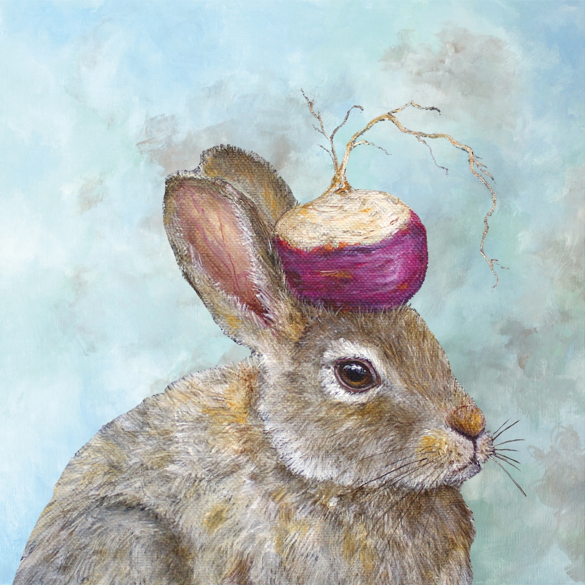 Lunch Servietten The Turnip Guardian,  Tiere - Hasen,  Ostern,  lunchservietten,  Hasen