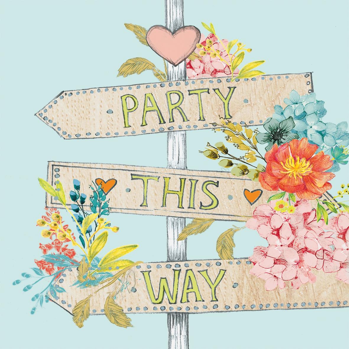 Lunch Servietten Party This Way,  Sonstiges - Schriften,  Blumen - Mohn,  Ereignisse -  Sonstige,  Everyday,  lunchservietten,  Liebe,  Herz,  Blumen,  Schriften