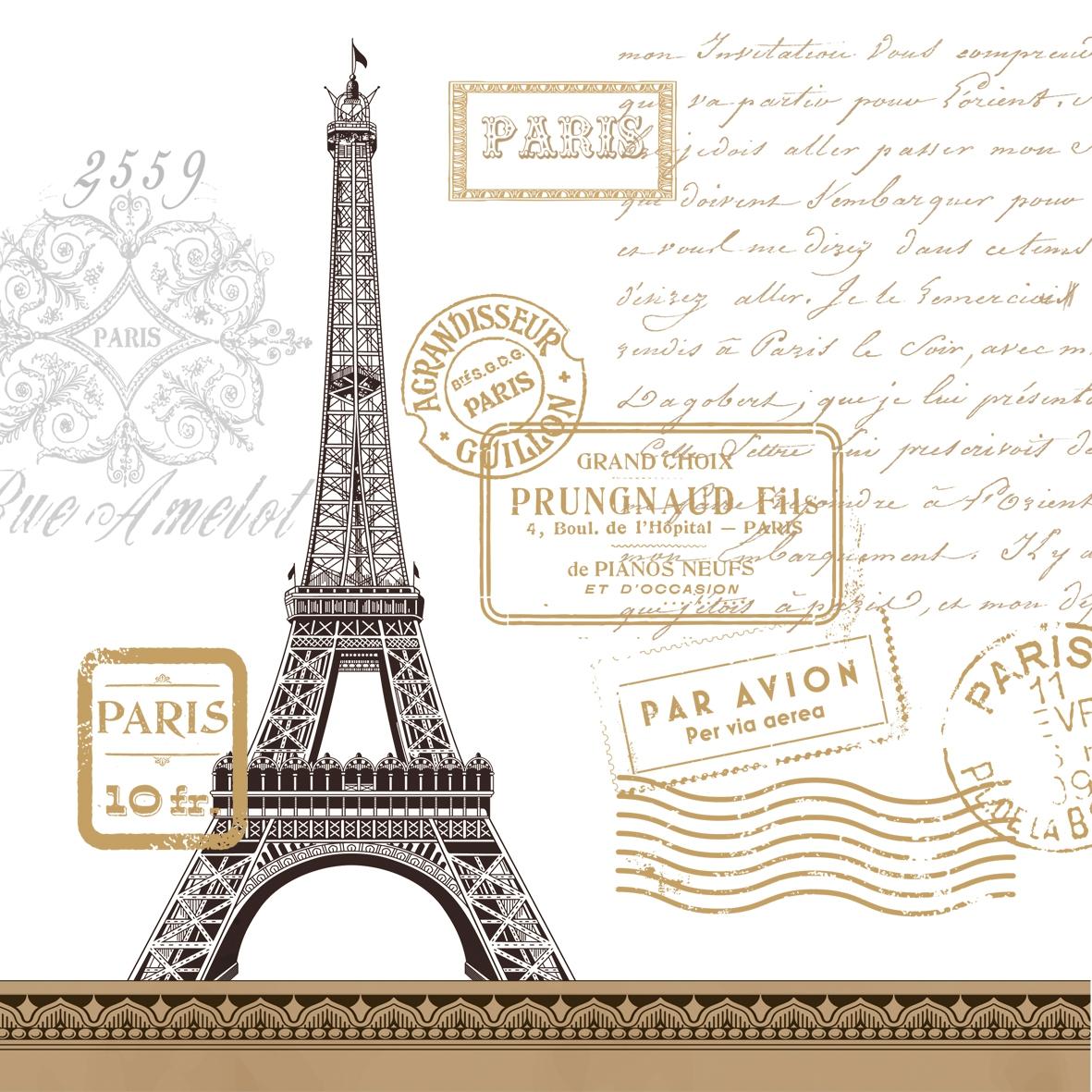 Servietten 25 x 25 cm,  Sonstiges - Schriften,  Regionen - Länder - Frankreich,  Everyday,  lunchservietten,  Paris,  Eifelturm,  Schriften