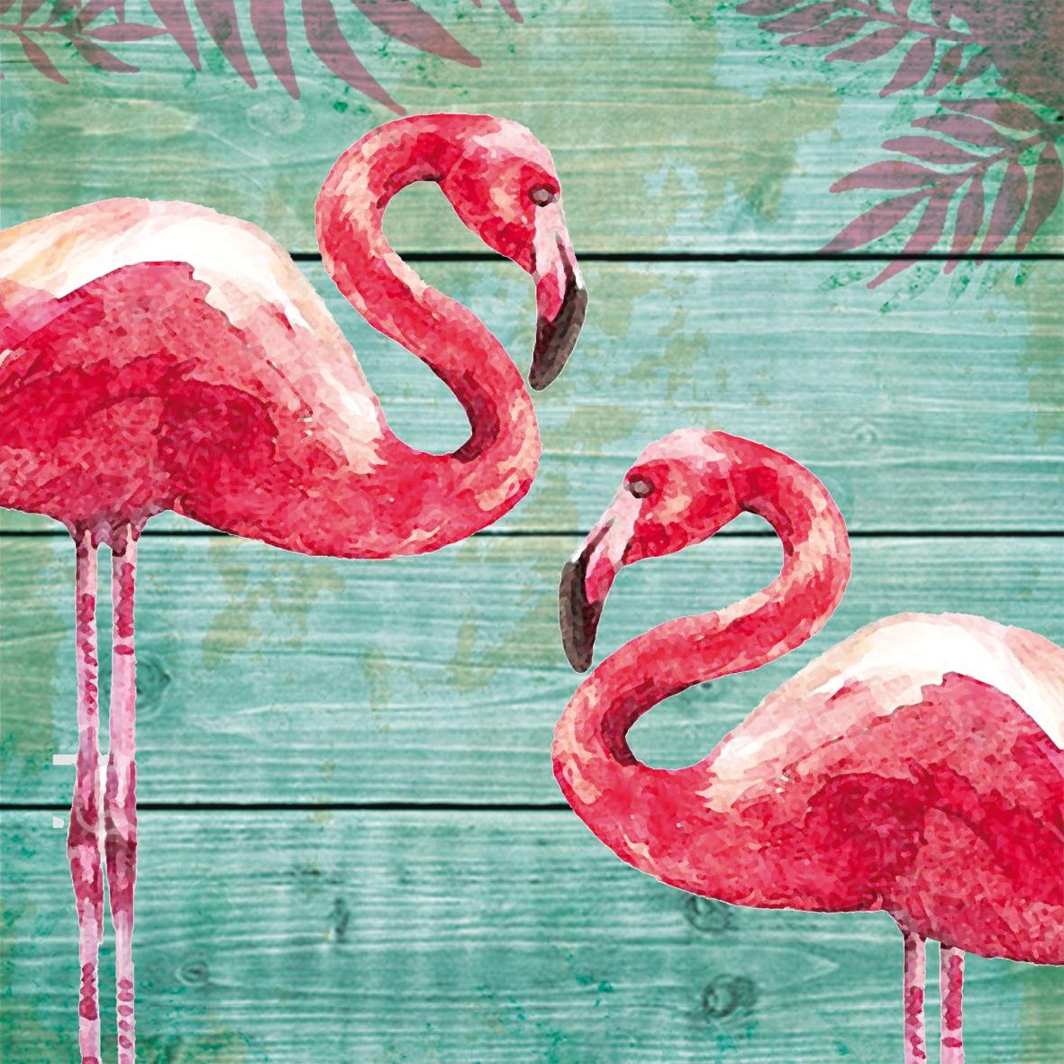 Lunch Servietten Summer Flamingos,  Tiere - Vögel,  Everyday,  lunchservietten,  Flamingo