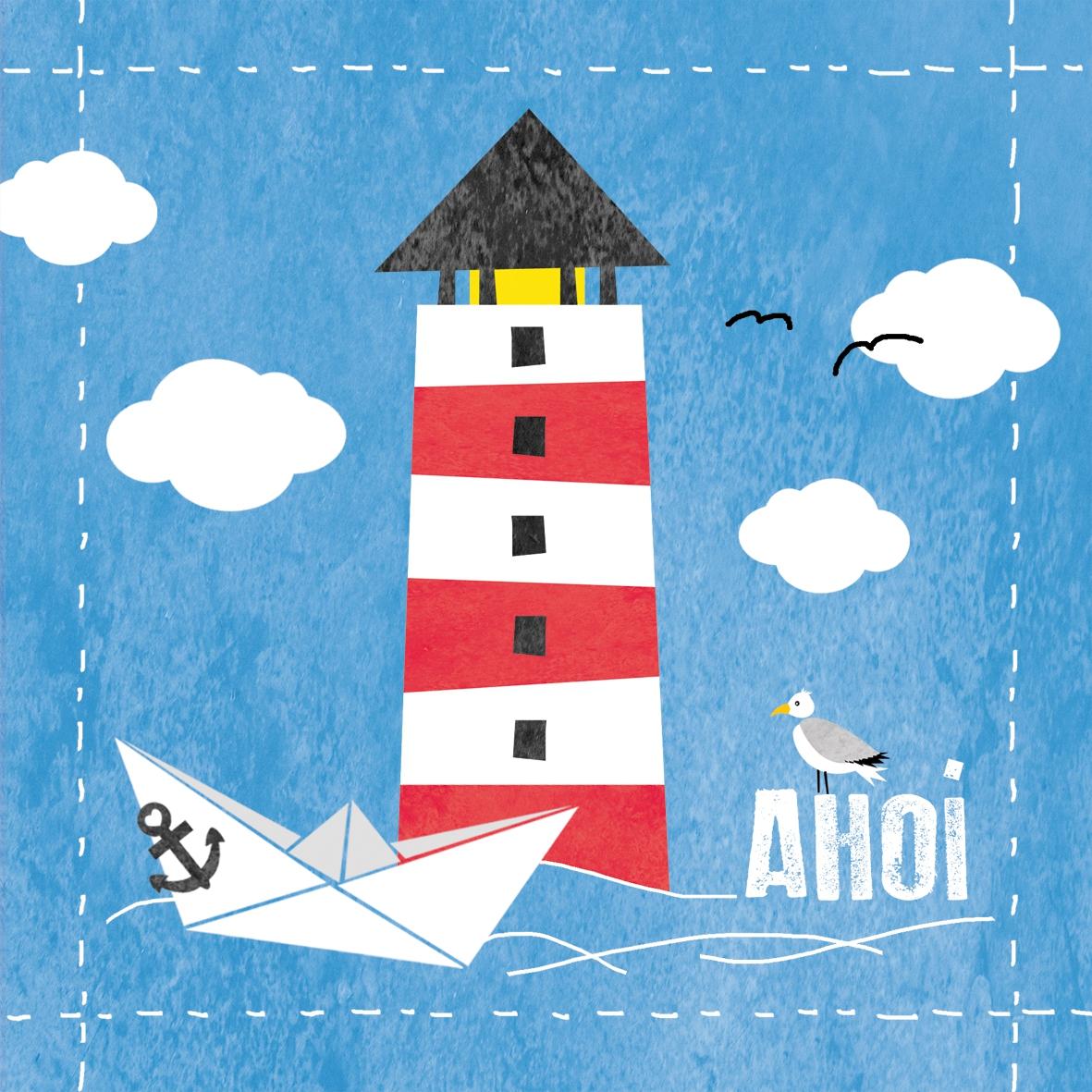 NEU im Shop,  Regionen - Strand / Meer - Schiffe,  Tiere - Vögel,  Regionen - Strand / Meer - Leuchttürme,  Everyday,  lunchservietten,  Boote,  Möwen,  Anker