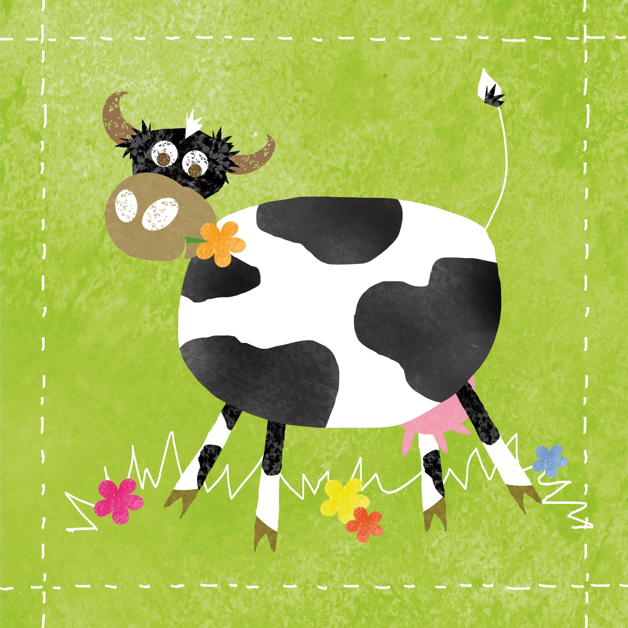 Lunch Servietten Elsa,  Blumen -  Sonstige,  Tiere - Kühe,  Everyday,  lunchservietten,  Kühe,  Blumen