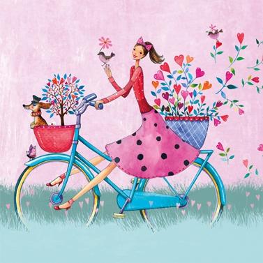 Lunch Servietten Weekend on Bike, Fahrzeuge - Fahrräder,  Tiere - Hunde,  Menschen - Personen,  Blumen - Tulpen,  Everyday,  lunchservietten,  Fahrrad,  Hunde,  Blumen,  Personen