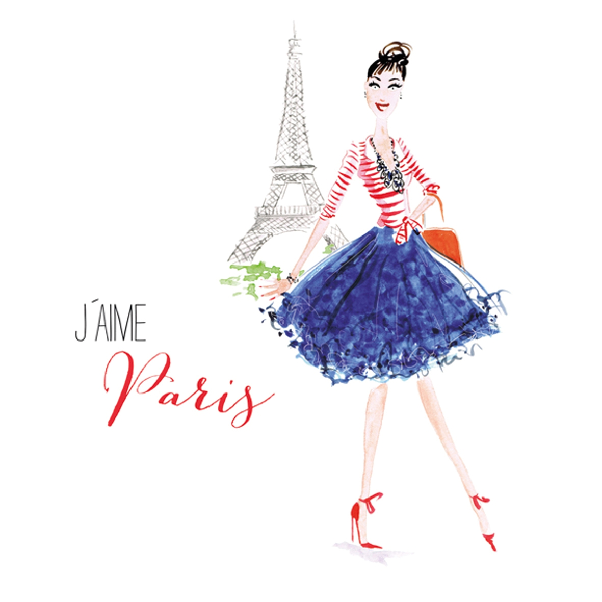 Lunch Servietten Paris City Girl,  Menschen - Personen,  Regionen - Länder - Frankreich,  Everyday,  lunchservietten,  Paris,  Eifelturm,  Schriften