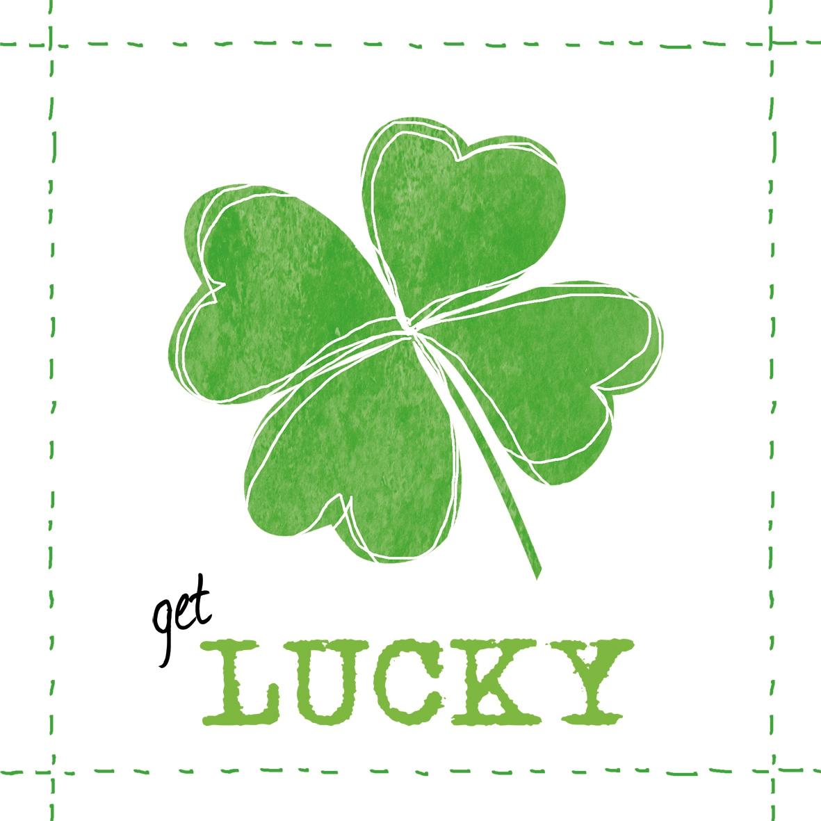 Lunch Servietten Get Lucky!,  Sonstiges - Schriften,  Pflanzen - Klee,  Everyday,  lunchservietten,  Klee,  Schriften