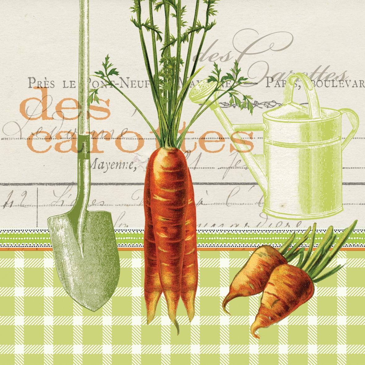 Lunch Servietten Les Carottes,  Sonstiges - Schriften,  Gemüse -  Sonstiges,  Everyday,  lunchservietten,  Möhren,  Schaufel,  Schriften,  Giesskanne