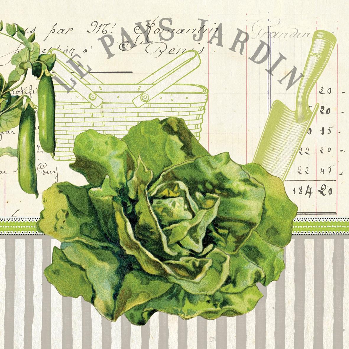 Servietten nach Motiven,  Sonstiges - Schriften,  Gemüse - Salat,  Everyday,  lunchservietten,  Erbsen,  Schriften,  Salat
