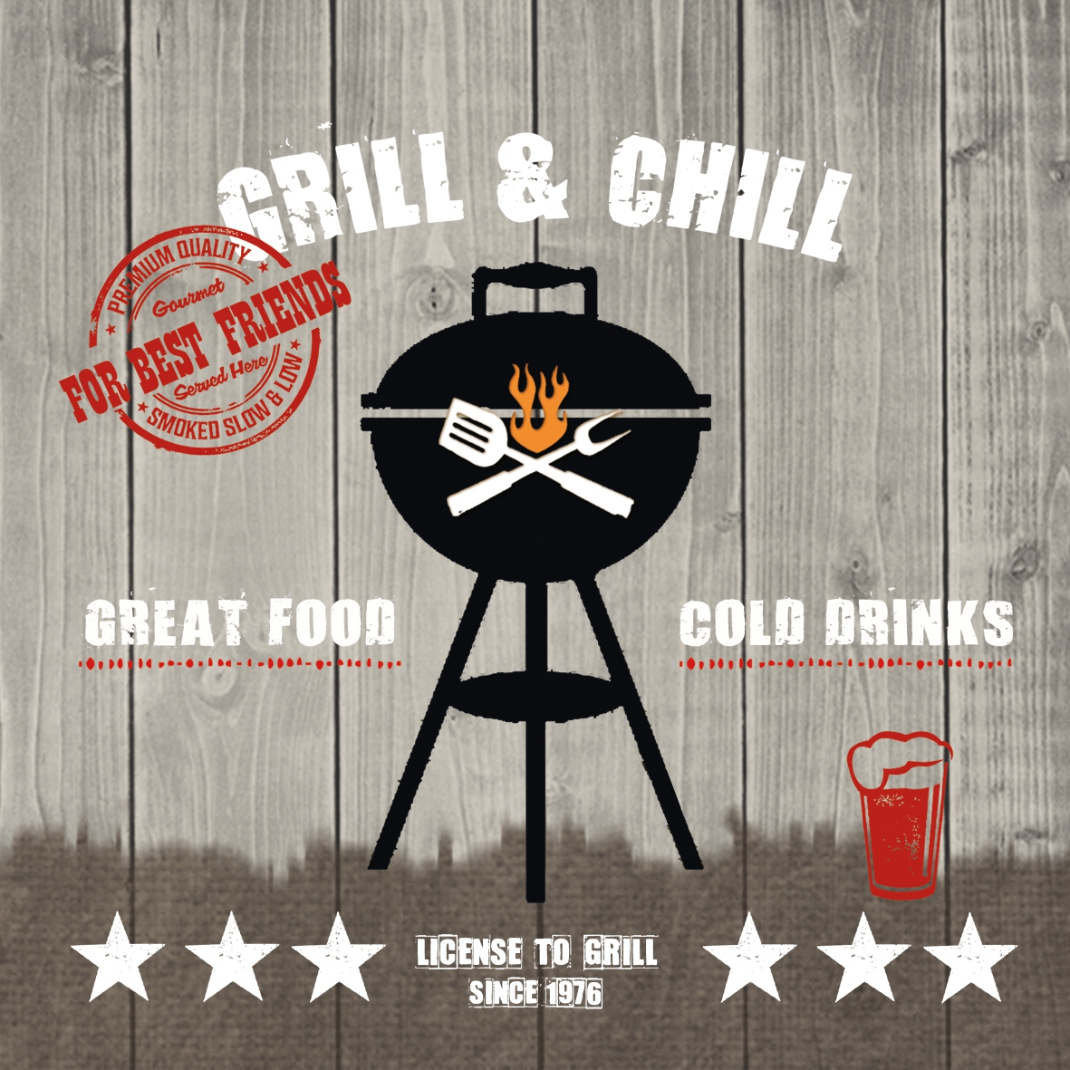 Lunch Servietten Grill & Chill wood