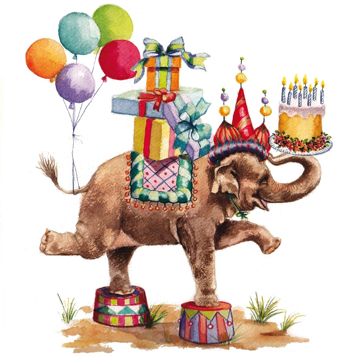 Lunch Servietten Jumbo Birthday white ,  Tiere - Elefanten,  Ereignisse - Geburtstag,  Everyday,  lunchservietten,  Geburtstag,  Geschenke