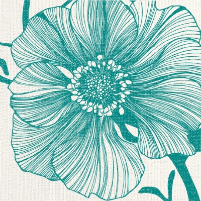 Lunch Servietten Sea Flower linen turquoise ,  Blumen -  Sonstige,  Everyday,  lunchservietten,  Blumen