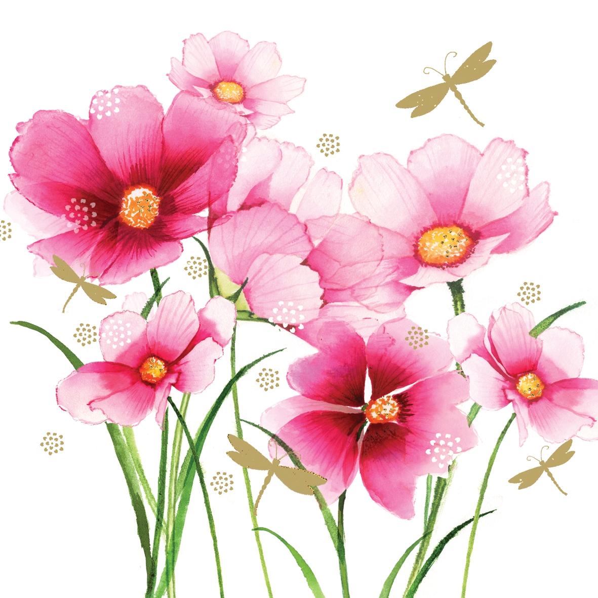 Lunch Servietten Flowers & Dragonfly