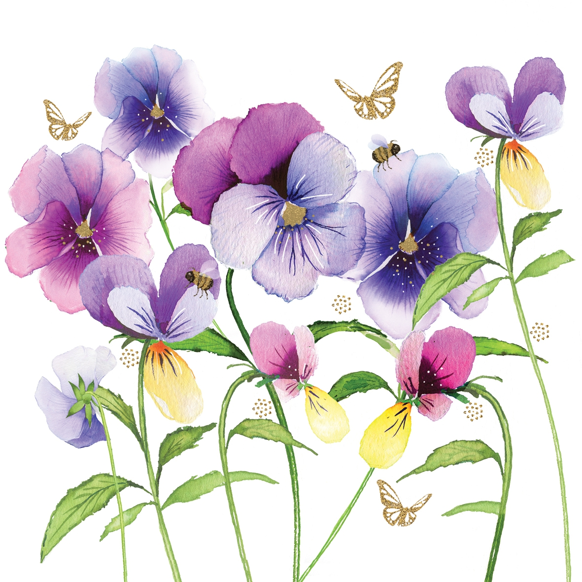 Serviettes lunch Violet Pansies