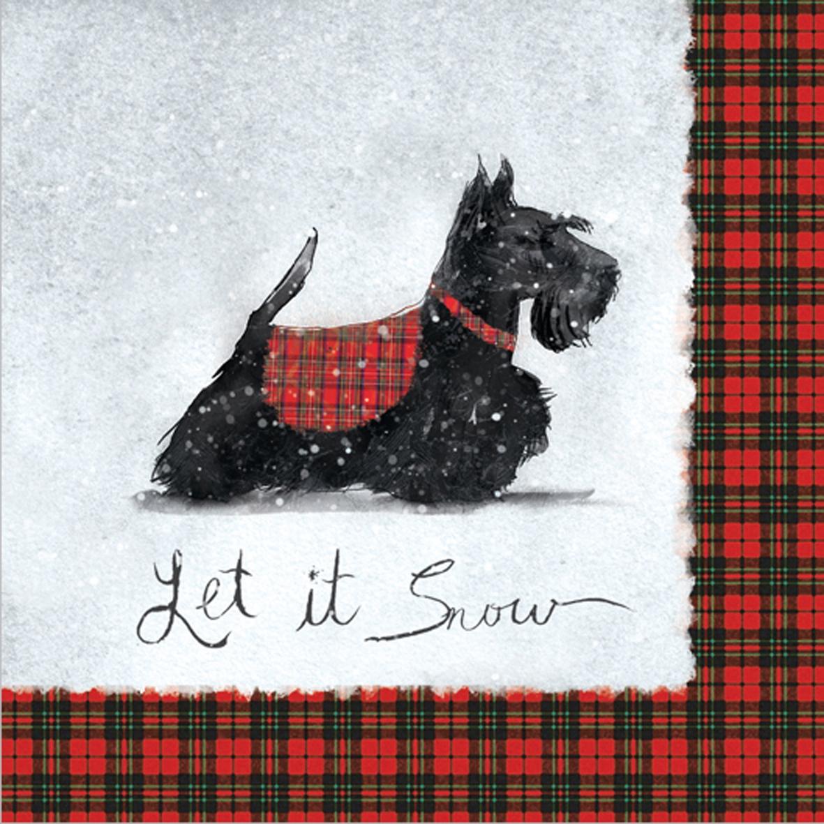 Cocktail Servietten Scottie                         ,  Weihnachten,  cocktail servietten,  Hunde,  Terrier