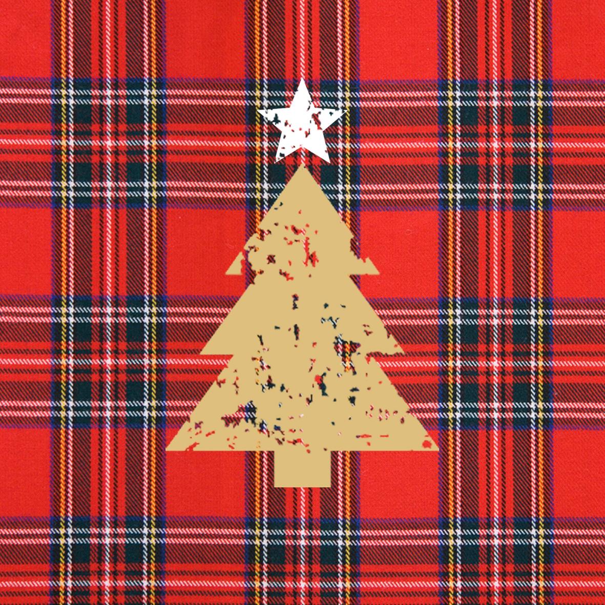 Cocktail Servietten Tartan Tree red,  Weihnachten - Weihnachtsbaum,  Sonstiges - Muster,  Weihnachten,  cocktail servietten,  Weihnachtsbaum
