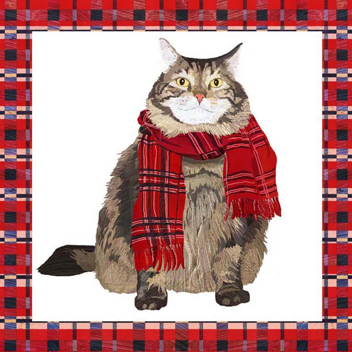 Servietten / Katzen,  Tiere - Katzen,  Weihnachten,  cocktail servietten,  Katzen