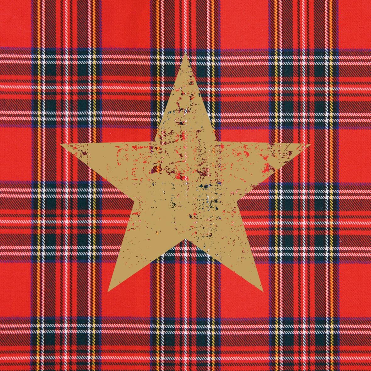 Cocktail Servietten Tartan Star red,  Sonstiges - Muster,  Weihnachten - Sterne,  Weihnachten,  cocktail servietten,  Karos,  Sterne