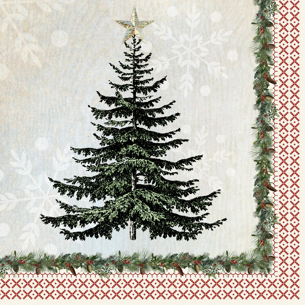 Cocktail Servietten Winter Lodge Tree,  Weihnachten - Weihnachtsbaum,  Weihnachten,  cocktail servietten,  Weihnachtsbaum,  Tannenbaum