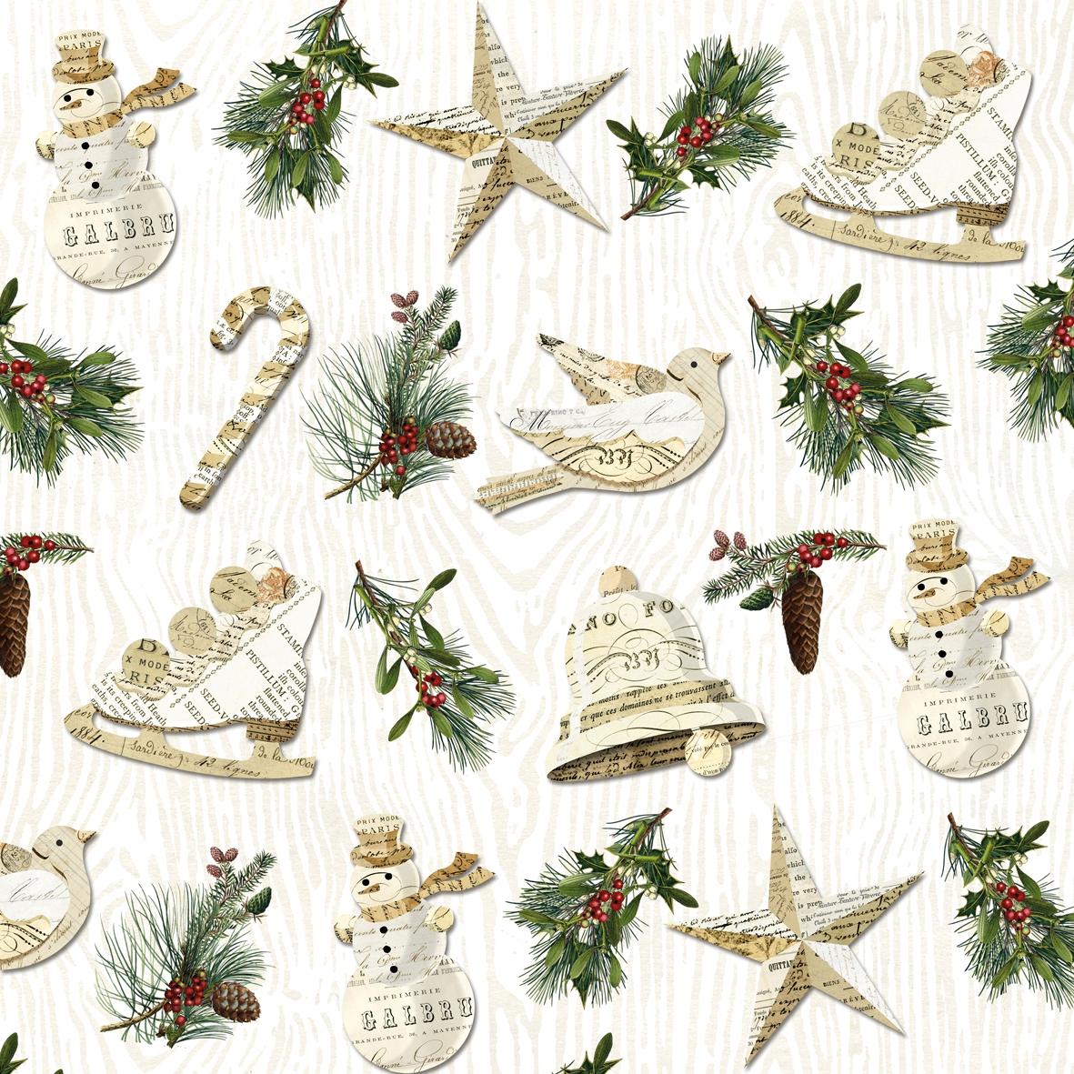 Servietten nach Jahreszeiten,  Weihnachten - Glocken,  Weihnachten,  cocktail servietten,  Glocken,  Schlittschuhe,  Sterne