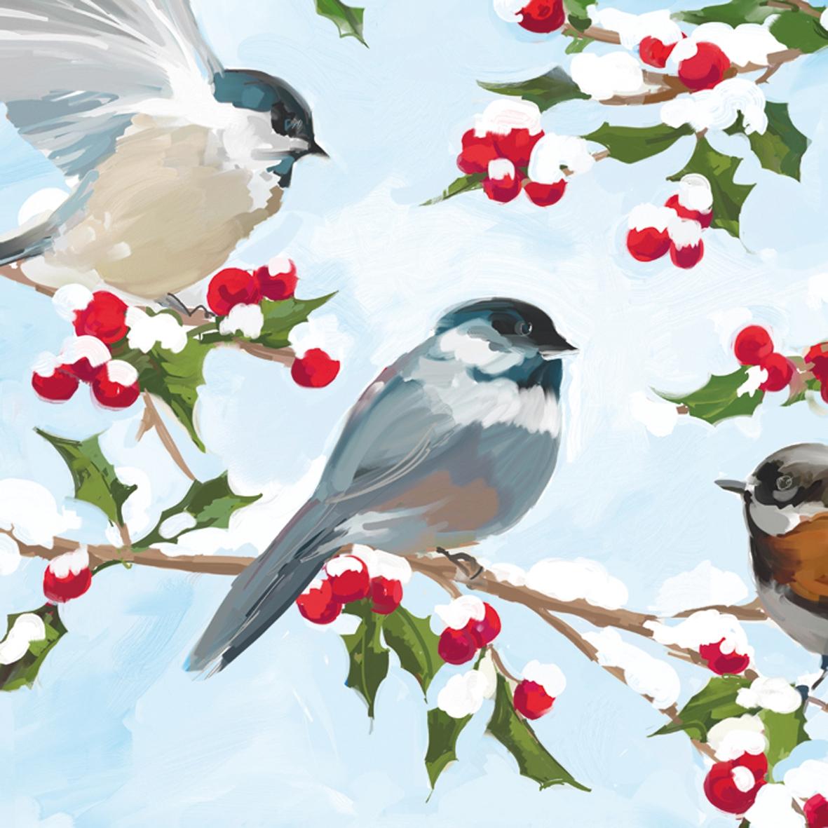 Servietten nach Firmen,  Pflanzen - Ilex,  Tiere - Vögel,  Weihnachten,  lunchservietten,  Vögel,  Ilex