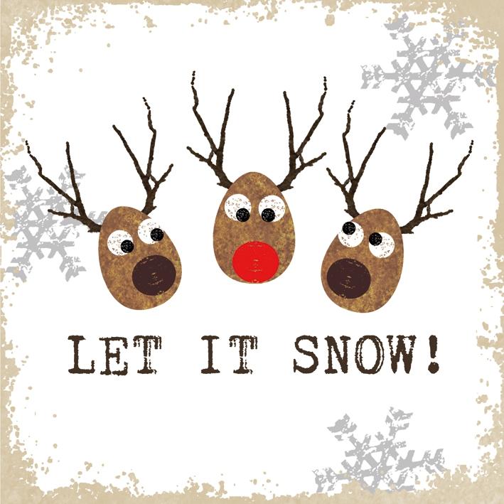 Lunch Servietten Let it Snow! white              ,  Sonstiges - Schriften,  Tiere - Rentiere,  Weihnachten,  lunchservietten,  Rentier
