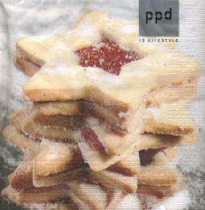 Lunch Servietten Sweet Cookies!                  ,  Weihnachten - Sterne,  Essen - Kuchen / Keks,  Weihnachten,  lunchservietten,  Kekse,  Sterne