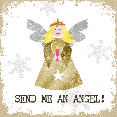 Lunch Servietten Send me an Angel,  Sonstiges - Schriften,  Weihnachten - Engel,  Weihnachten,  lunchservietten,  Engel,  Schriften