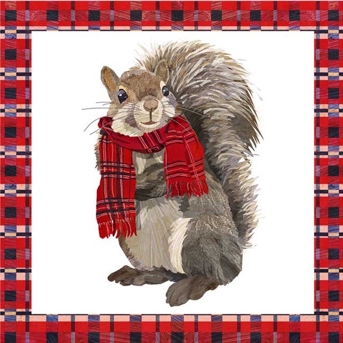Servietten Weihnachten,  Tiere - Eichhörnchen,  Weihnachten,  lunchservietten,  Eichhörnchen