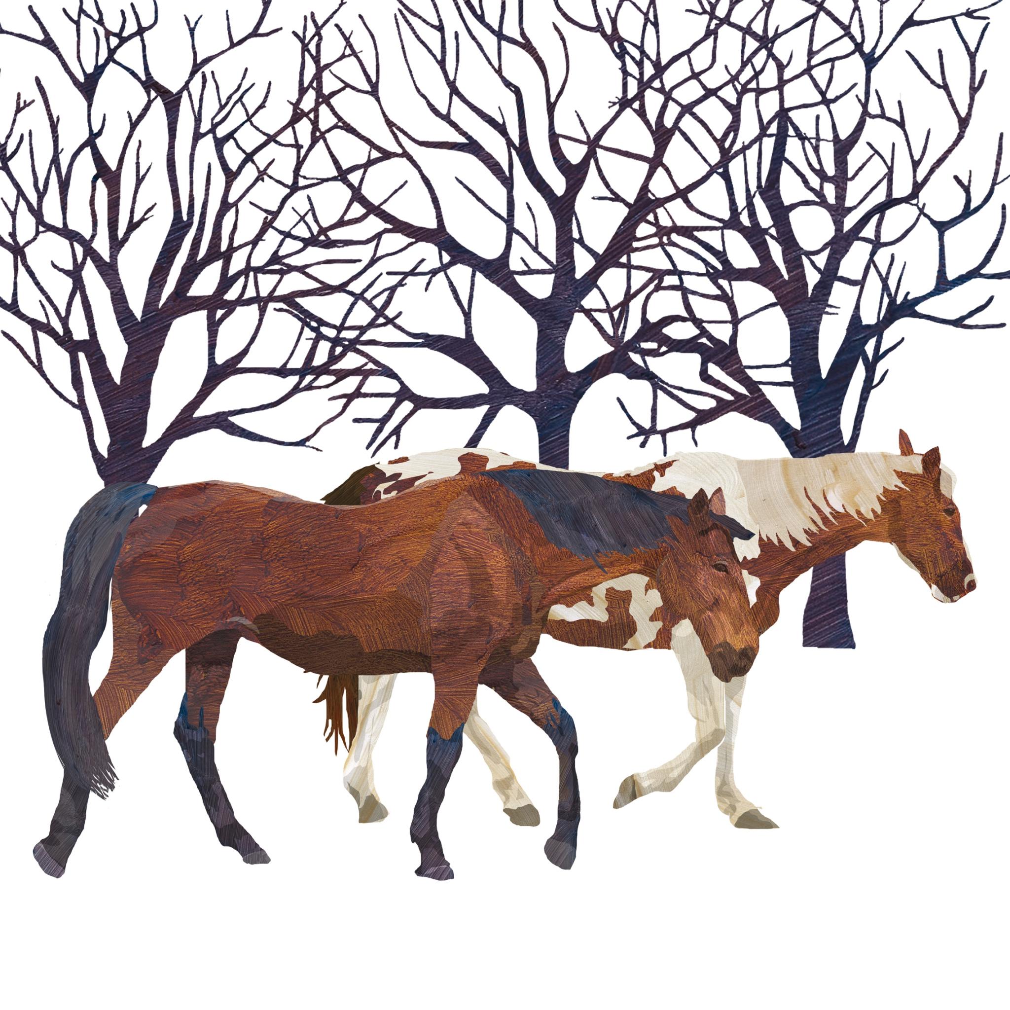 Lunch Servietten Winter Horses,  Tiere - Pferde,  Weihnachten,  lunchservietten,  Pferde