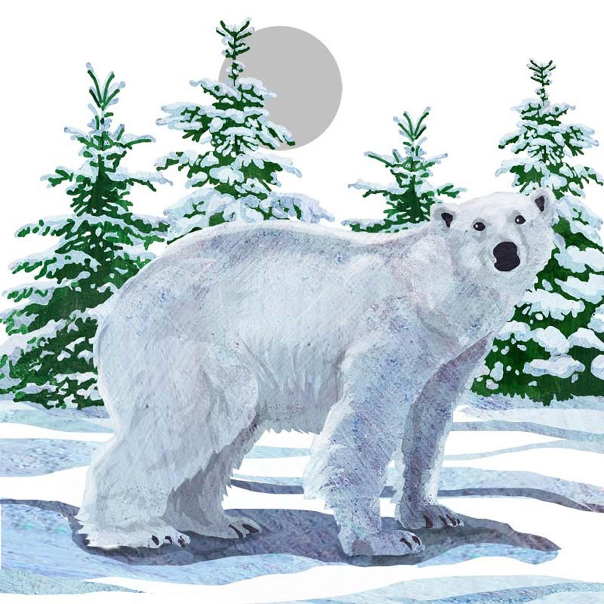 Lunch Servietten Snow Bear,  Tiere - Bären,  Weihnachten,  lunchservietten,  Eisbären