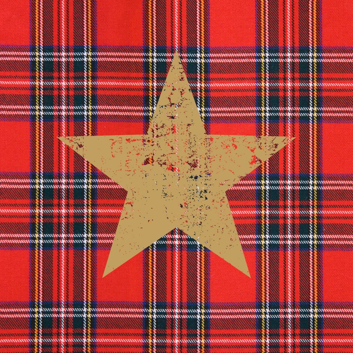 Lunch Servietten Tartan Star red