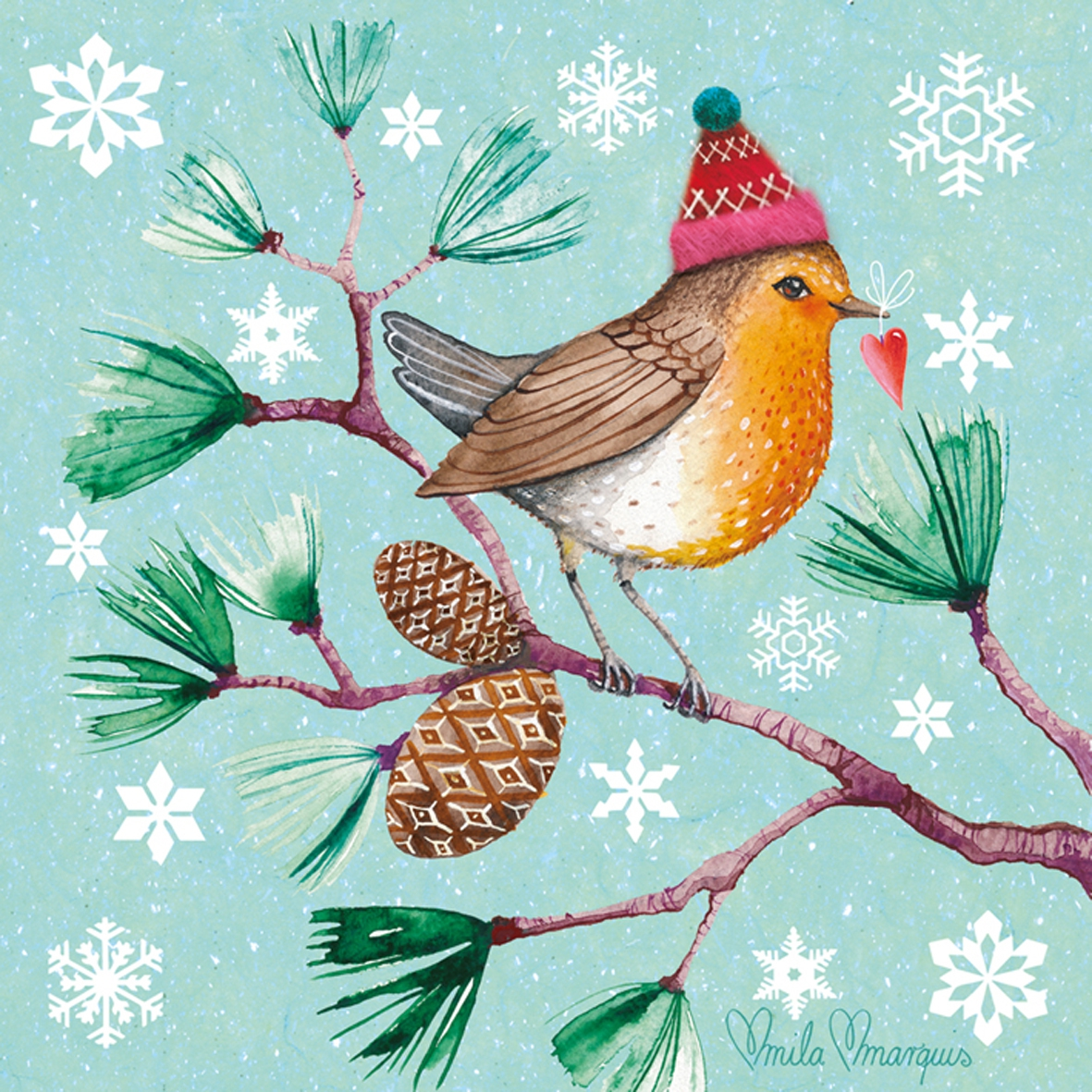 Lunch Servietten Winter Bird