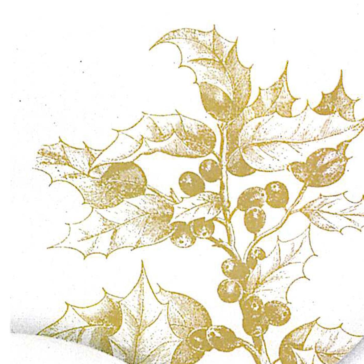 Lunch Servietten Engraved Flora,  Pflanzen - Ilex,  Weihnachten,  lunchservietten,  Ilex