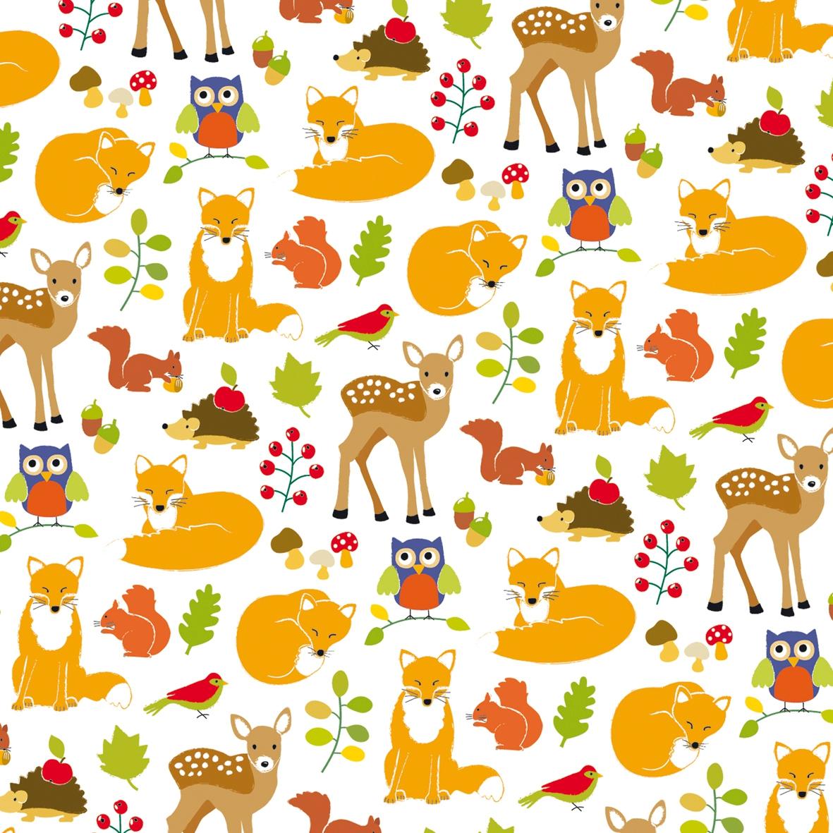 Paperproducts Design, Tiere - Vögel,  Tiere - Eichhörnchen,  Tiere - Reh / Hirsch,  Tiere - Igel,  Herbst,  lunchservietten,  Eulen,  Vögel,  Blätter,  Fuchs