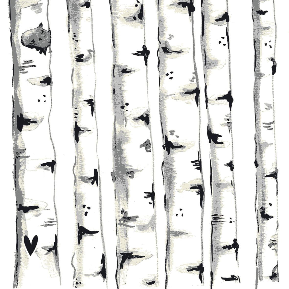 Servietten 33 x 33 cm,  Pflanzen -  Sonstige,  Everyday,  lunchservietten,  Birke