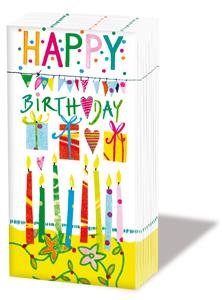 Taschentücher Happy Birthday,  Ereignisse,  Everyday,  bedruckte papiertaschentücher,  Kerzen