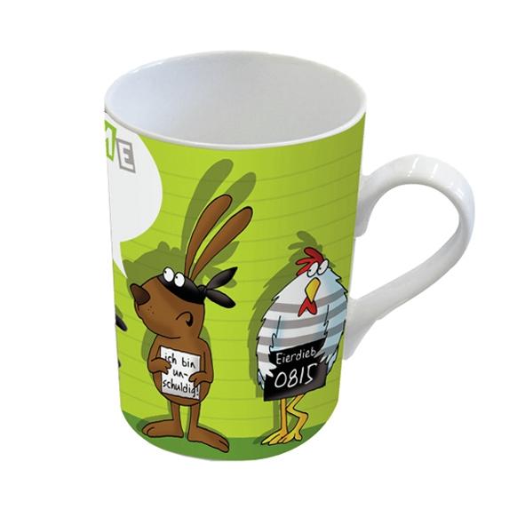 Porzellan-Henkelbecher Mug Mein Name ist Hase,  Comic,  Hase,  Huhn