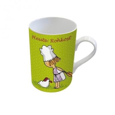 Porzellan-Henkelbecher Heute Rohkost                 ,  Comic,  Mädchen