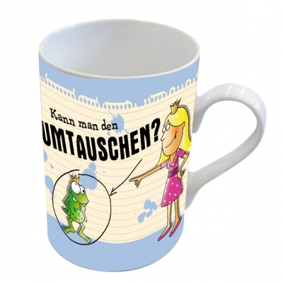 Porzellan-Henkelbecher Umtauschen                      ,  Comic,  Frosch,  Froschkönig,  Prinzessin