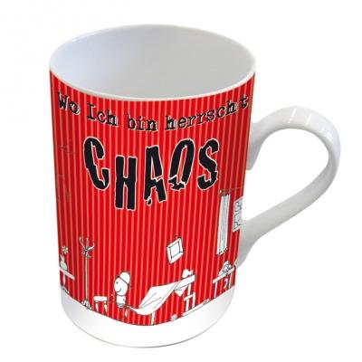 Porzellan-Henkelbecher Chaos                        ,  Comic
