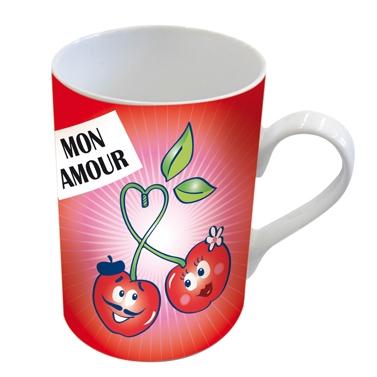 Porzellan-Henkelbecher Mug Mon Amour,  Liebe,  Kirschen,  lustig