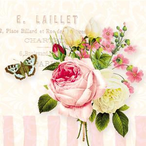 Lunch Servietten Jadin Rose,  Sonstiges - Schriften,  Tiere - Schmetterlinge,  Blumen - Rosen,  Everyday,  lunchservietten