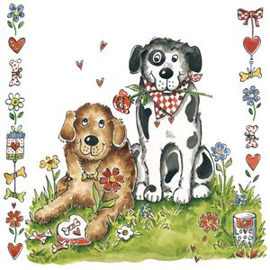 Lunch Servietten Henry&Husky,  Ereignisse - Liebe,  Tiere - Hunde,  Blumen -  Sonstige,  lunchservietten