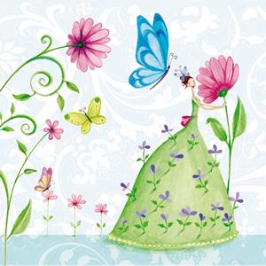 20 Servietten - 33 x 33 cm ,  Tiere - Schmetterlinge,  Blumen -  Sonstige,  Everyday,  lunchservietten